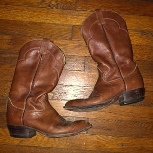 Tony Lama cowboy western boots brown leather 9.5 D